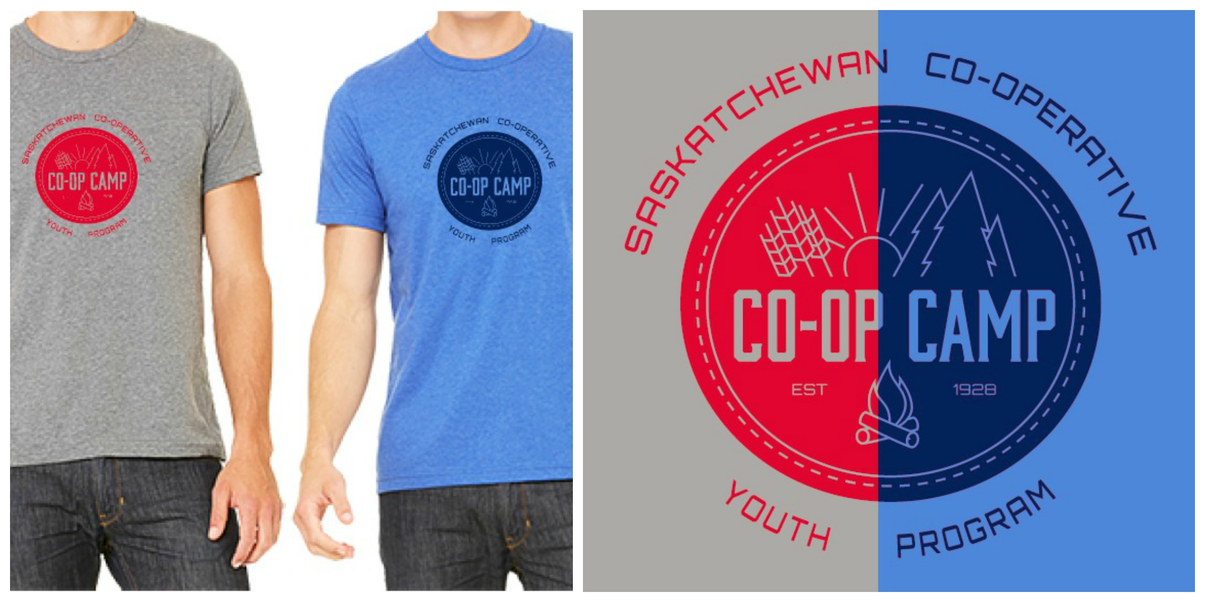 camp shirt and logo collage