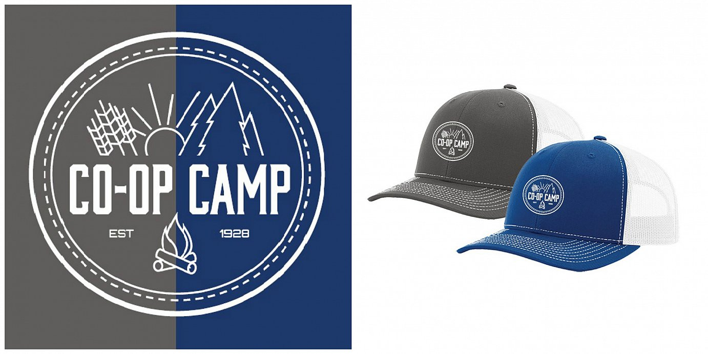 Coop Camp Hats and art proof collage 2018